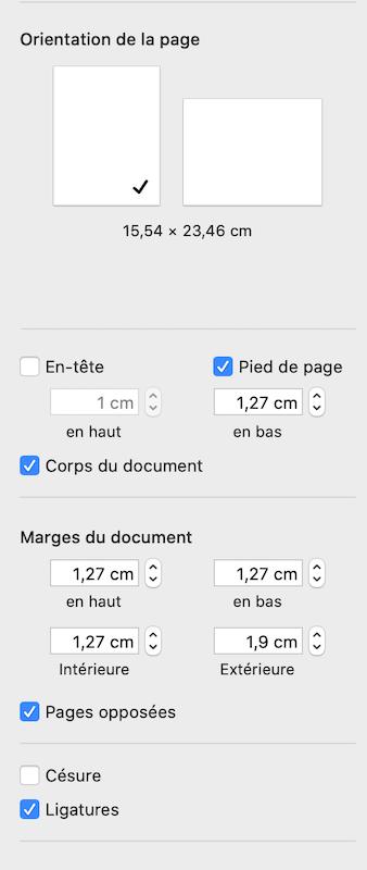 Réglages pour un document Pages en autoédition sur Amazon : 15,54x23,46 cm et marges et pieds de page à 1,27 cm sauf marge externe à 1,9 cm