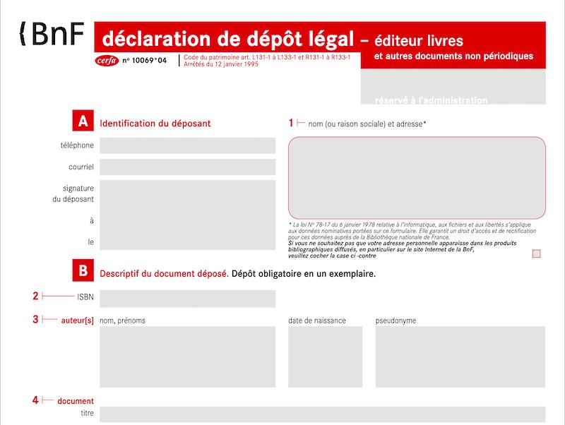 Formulaire déclaration dépôt légal