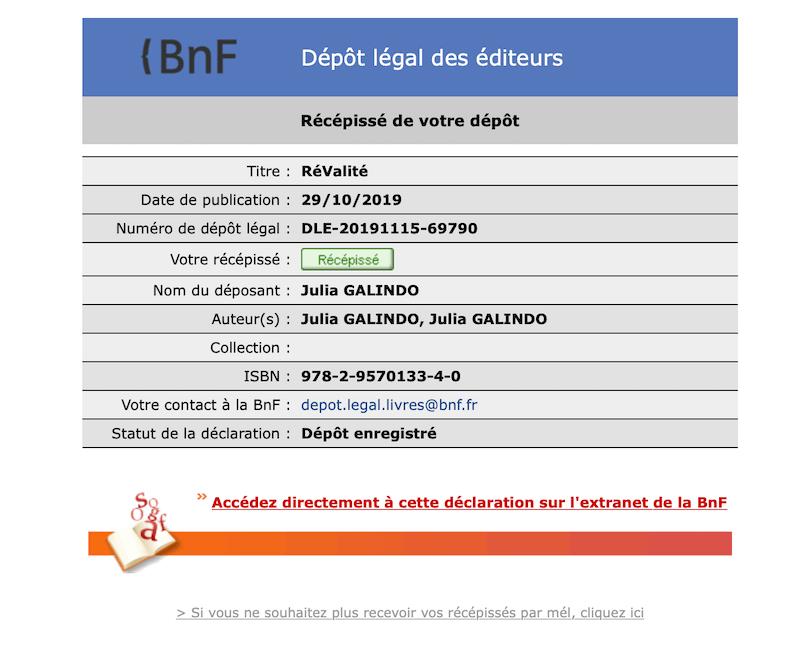 Récépissé du dépôt légal de RéValité à la BnF