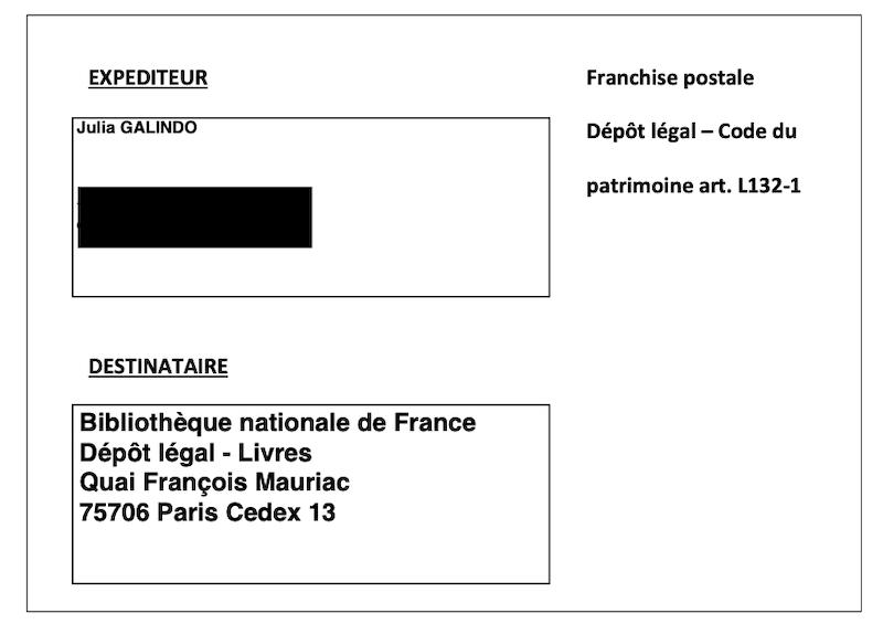 Étiquette de franchise postale pour le dépôt légal d'un livre