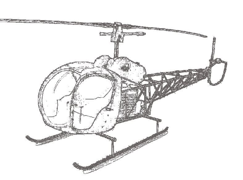 Illustration d'un hélicoptère Bell 47